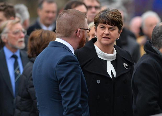 First Minister Arlene Foster and Simon Hamilton at a Thanksgiving service for former BBC journalist and News Letter editor Austin Hunter, at second Comber Presbyterian Church. Photo Colm Lenaghan/Pacemaker Press