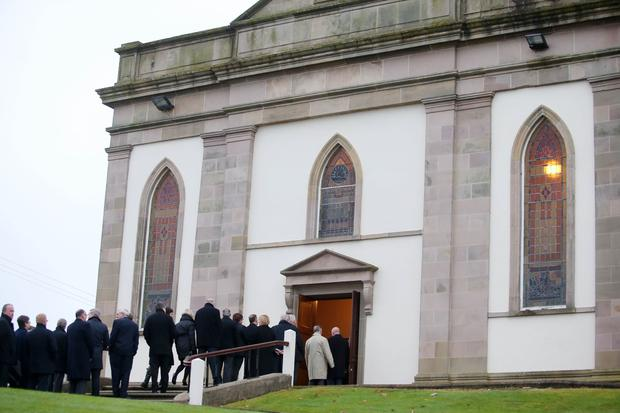 Thanks Giving service at Comber Second Presbyterian Church for former BBC reporter and News Letter editor Austin Hunter who died as a result of a road traffic accident in Bahrain last week. Photo: Jonathan Porter/Press Eye.
