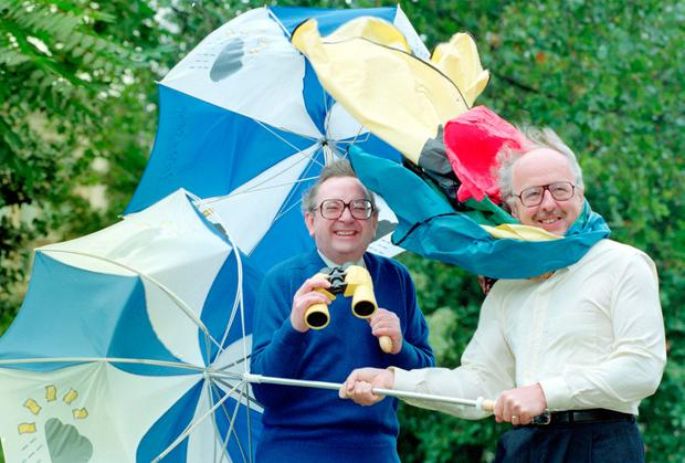 File photos dated 18/09/1991 of BBC forecasters Ian McCaskill (left) and Michael Fish. PA