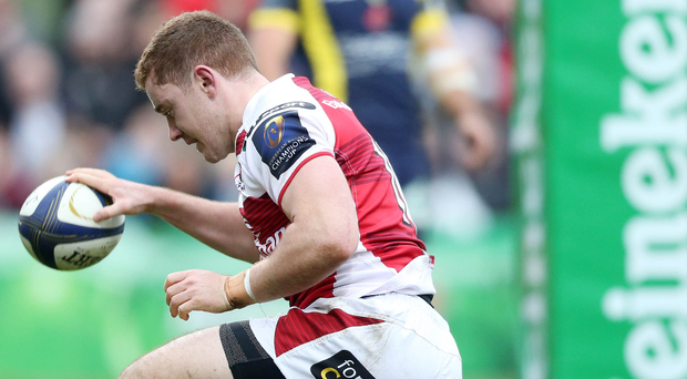 Touch down: Ulster star Paddy Jackson bags his try against Clermont