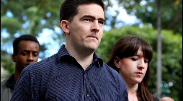 Mark Harte and John McAreavey's sister, Claire, during the murder trial