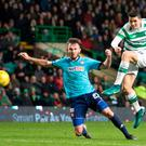 Celtic's Tom Rogic's shot hits the post during the Ladbrokes Scottish Premiership match at Celtic Park, Glasgow. PA