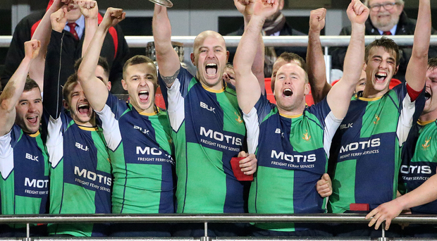 Prize guys: Ballynahinch II captain Kenny Morton lifts the Millar McCall Wylie Junior Cup at Kingspan Stadium last night