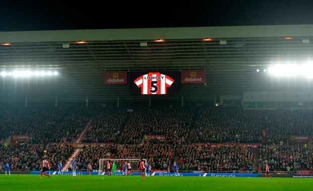 Bradley Lowery's shirt number is displayed during the Premier League match at the Stadium of Light, Sunderland. PA