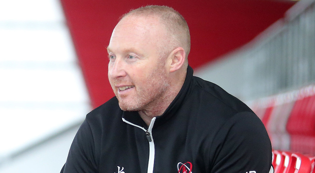 Hotseat: Neil Doak at Kingspan yesterday plotting Clermont's downfall