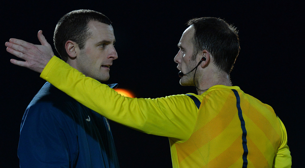 Marching orders: Oran Kearney is sent off during the semi-final defeat