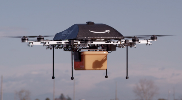 The Amazon drones will be able to deliver packages up to five pounds in weight in 30 minutes or less