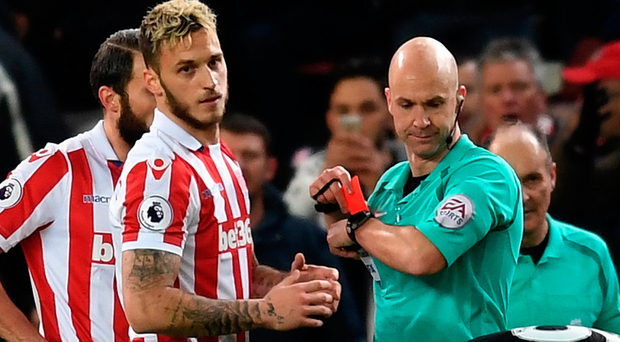Red mist: Marko Arnautovic issent off by ref Anthony Taylor