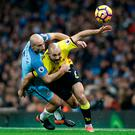 Hold on: Pablo Zabaleta (left) wrestles with Nordin Amrabat