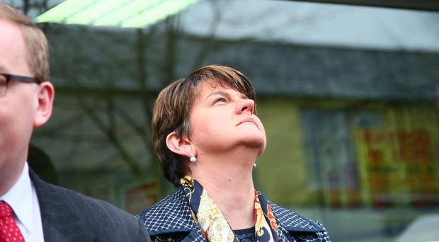 Arlene Foster pictured on the street at the new DUP office in Sandy Row in Belfast on Friday ( Photo by Kevin Scott / Belfast Telegraph )