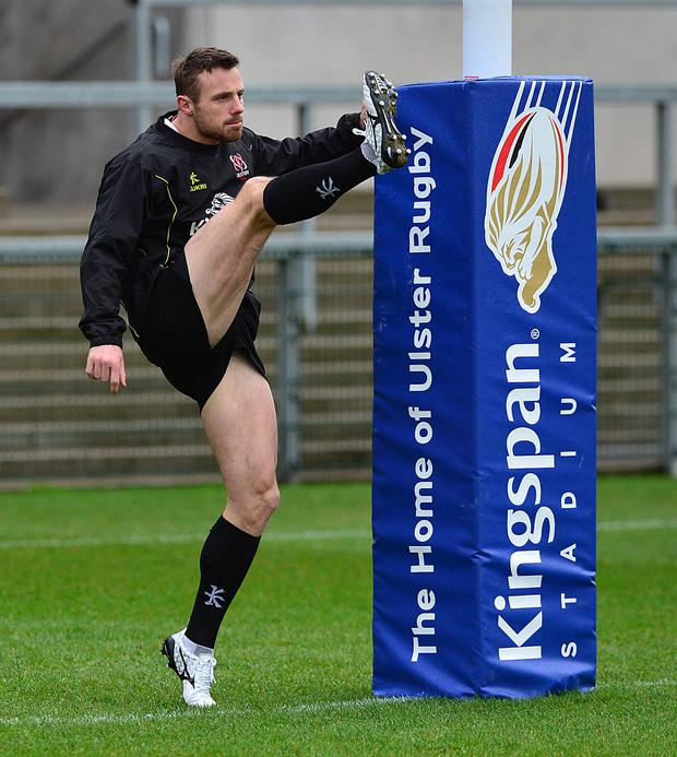 Best foot forward: Tommy Bowe in training yesterday