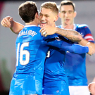 Bracing time: Martyn Waghorn bagged Rangers' two goals