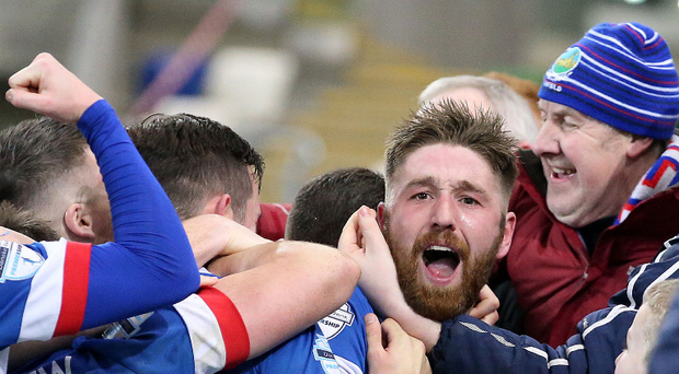 Christmas joy: Mark Stafford celebrates after scoring Linfield's last minute winner against Ballymena