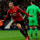 Double delight: Manchester United's Zlatan Ibrahimovic after scoring the first of his double against West Brom