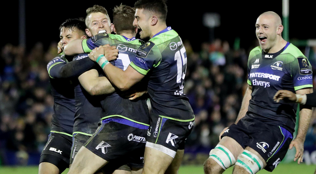 Amazing scenes: Connacht players celebrate the win over Wasps