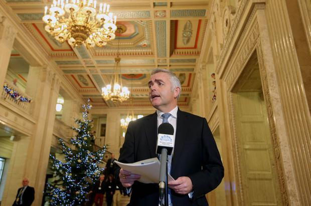 Press Eye Belfast - Northern Ireland 19th December 2016 Stormont recalled over Renewable Heat Initiative Scheme. Jonathan Bell arrives in the Great Hall before heading into the Assembly Chamber. Picture by Jonathan Porter/Press Eye.