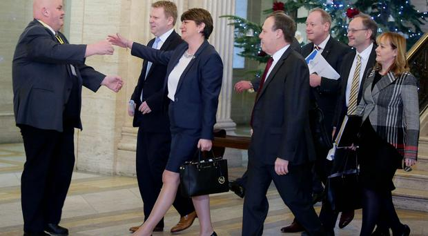 Stormont recalled over Renewable Heat Initiative Scheme. First Minister Arlene Foster arrives in the Great Hall before heading into the Assembly Chamber. Picture by Jonathan Porter/Press Eye.