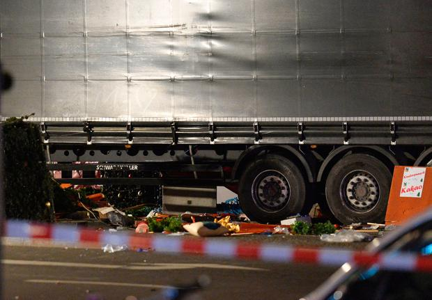 View of the truck that crashed into a christmas market at Gedächniskirche church in Berlin, on December 19, 2016 killing at least nine people and injuring at least 50 people. AFP/Getty Images