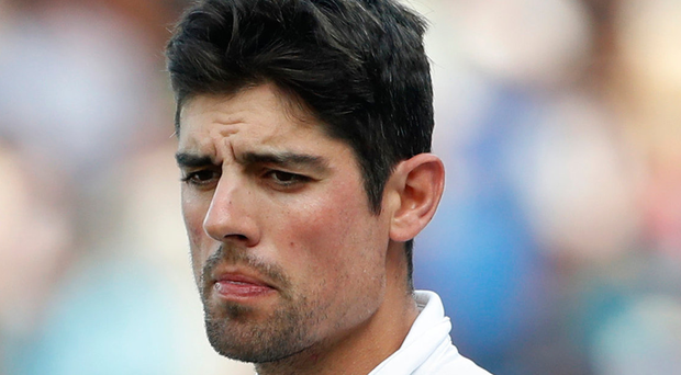 Thinking time: Alastair Cook is pondering his next move. Photo: Tsering Topgyal/AP