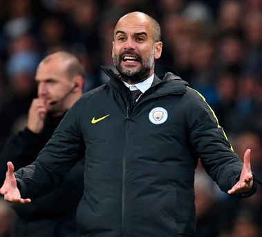 Manchester City's Spanish manager Pep Guardiola. Photo: Paul Ellis/AFP/Getty Images