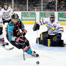 Storm warning: Belfast Giants' James Desmarais retains possession at the SSE Arena last night. Photo: William Cherry/PressEye
