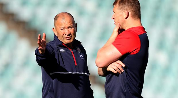 Pointing the way: Eddie Jones (left) with Dylan Hartley