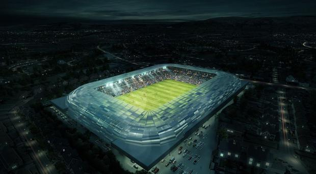 Nice view: An aeriallook at what the new Casement could look like, and it has been included in an all-Ireland bid to host the Rugby World Cup in 2023