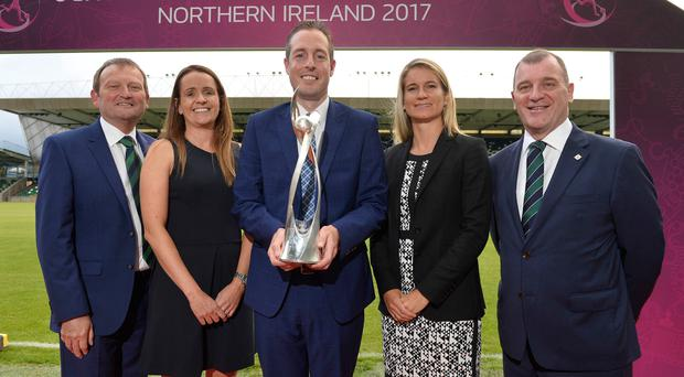 Major coup: Pictured (from left) at the launch of Uefa Women's Under-19 Championship are Irish FA President David Martin, Tournament Director Sarah Booth (Irish FA), Sports Minister Paul Givan, Emily Shaw, Women's Football Development Manager at Uefa, and Irish FA Chief Executive Patrick Nelso
