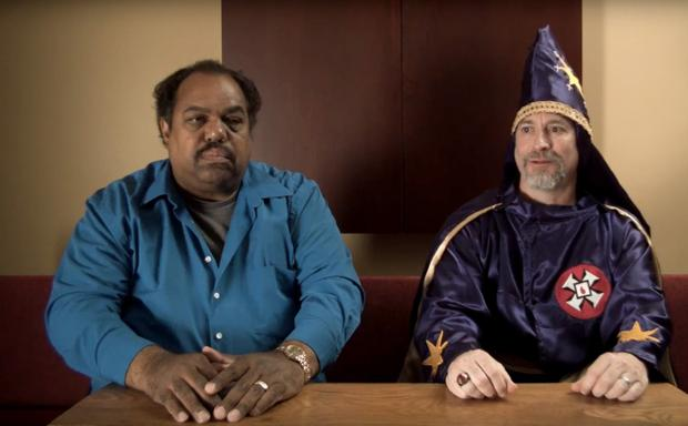 Blues musician Daryl Davis with a member of the KKK. Still from Accidental Courtesy: Daryl Davis, Race & America trailer