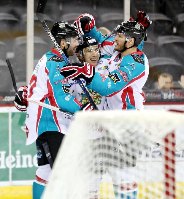 Belfast Giants' Steve Saviano celebrates scoring against the Edinburgh Capitals during Thursday nights Elite Ice Hockey League game at the SSE Arena, Belfast. Photo by William Cherry/Presseye