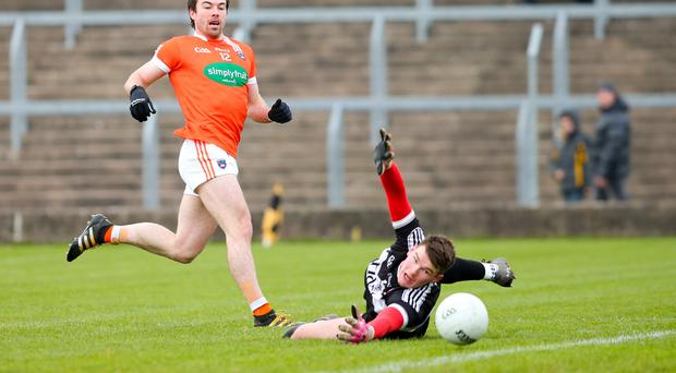 Key point: Armagh skipper Aidan Forker (pictured scoring past Derry's Ben McKinless) is warning his side that totting up impressive scores will be an essential ingredient for success in the 2017 season