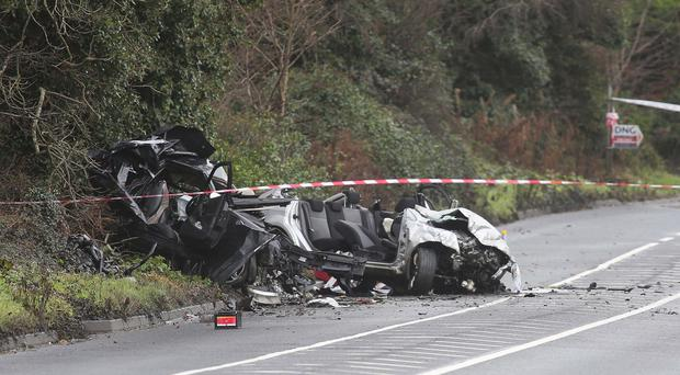 The scene at Glebe, Fahan, Co Donegal after the fatal crash, which claimed the life of a woman from Londonderry. December 23, 2016