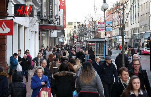 Shoppers throng Royal Avenue in Belfast
