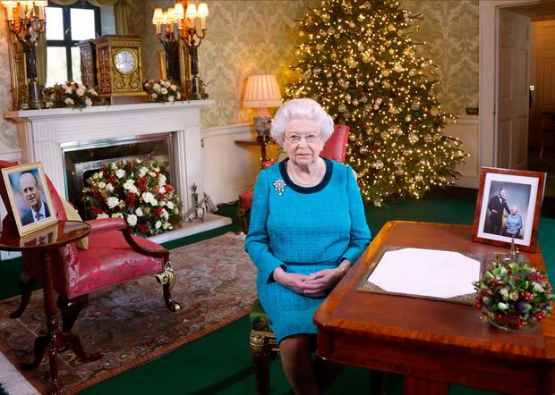 Queen Elizabeth n the Regency Room in Buckingham Palace, London, after recording her Christmas Day 2016 broadcast to the Commonwealth.