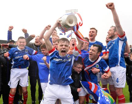 Christmas party: Skipper Reece Neale kick-starts Linfield Swifts' celebrations