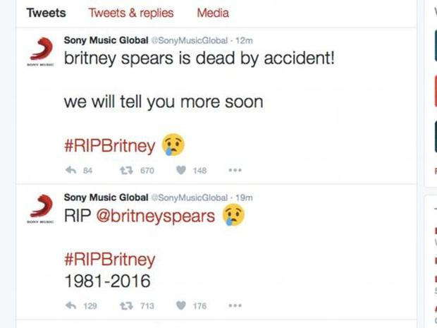 Sony Music Global tweets about Britney Spears
