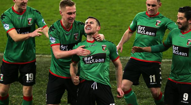 Glentoran Aaron Harmon celebrates scoring against Linfield during the Boxing Day Danske Bank Premiership 'Big Two' Derby at Windsor Park. Picture by Brian Little/PressEye