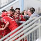 Portadown's Mark Carson celebrates his goal during the game at Shamrock Park, Portadown. Photo by David Maginnis/Pacemaker Press