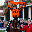Sweet moment: Tom Scudamore celebrates on Thistlecrack