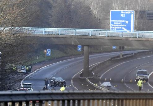 A man in his 30s has died in a multi-vehicle road crash on the M2 in County Antrim. The crash happened between Templepatrick and Sandyknowes on Monday night. Two other men were hurt in the incident but their injuries are not life threatening. Photo Colm Lenaghan/Pacemaker Press