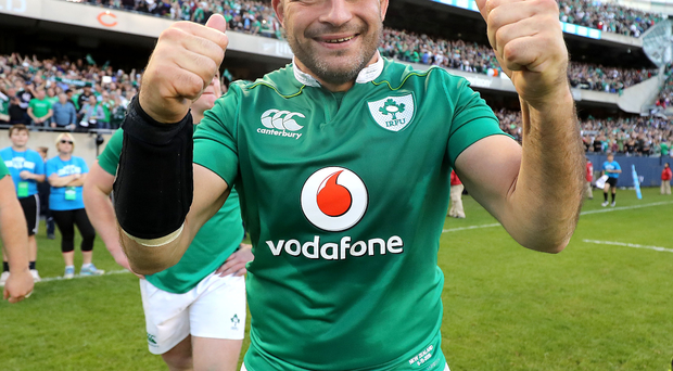 Top man: Rory Best gives the thumbs up after captaining Ireland to victory over New Zealand