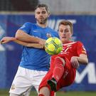 Eligibility row: David Elebert (left) in action against Portadown on Boxing Day