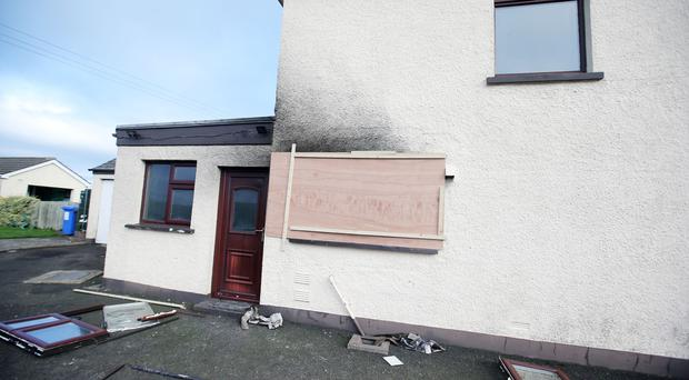The scene on the Seacoast Road, in Magilligan, where a house fire broke out on Boxing Day.