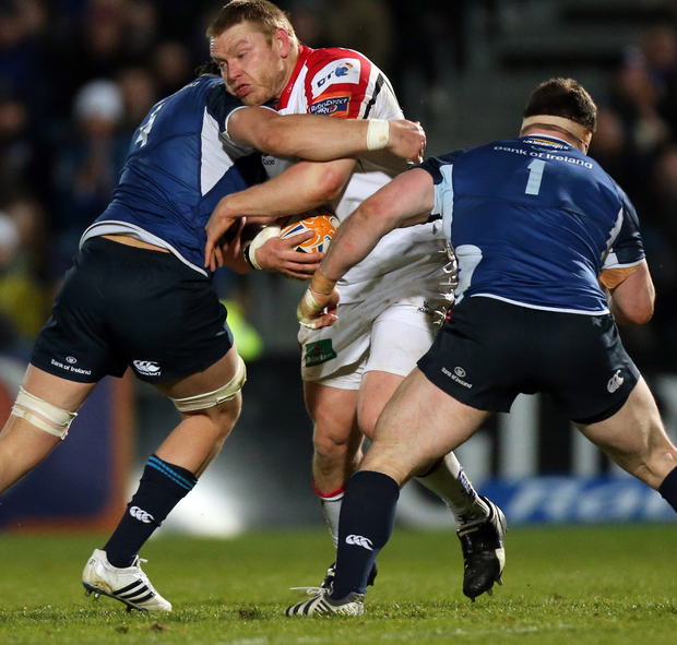 The way to do it: Tom Court playing for Ulster in their win against Leinster in March 2013. Photo: James Crombie/INPHO