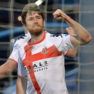 Festive joy: Crusaders defender Howard Beverland celebrates after netting against derby rivals Cliftonville on Boxing Day. Photo: Colm Lenaghan/Pacemaker