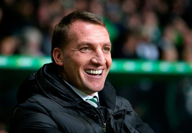 Celtic manager Brendan Rodgers during the Ladbrokes Scottish Premiership match at Celtic Park, Glasgow. PA