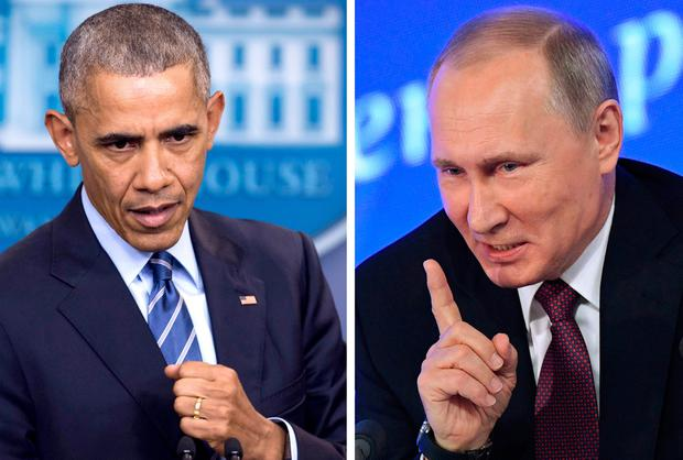 US President Barack Obama speaking at the White House in Washington, DC on December 16, 2016 and Vladimir Putin speaking in Moscow on December 23, 2016. AFP/Getty Images