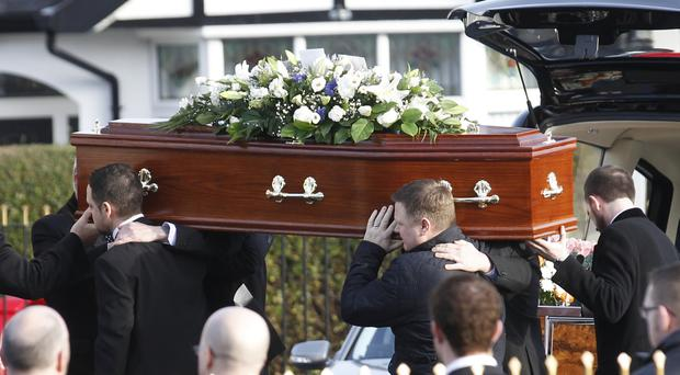 Friends and Family carry the coffin of Stephen Martin to Ronnie Thompson's Funeral Church in Lisburn, Stephen died following a multi car crash on Boxing day on the M2. Pic by Peter Morrison