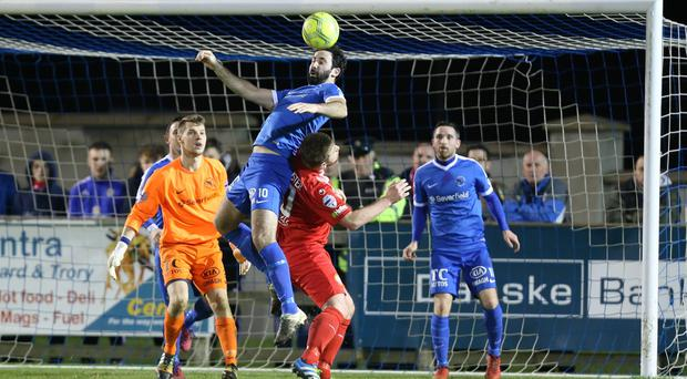 Danske Bank Premiership Ballinamallard v Portadown at Ferney Park Jonathan Lafferty of Ballinamallard and Mark McAllister of Portadown Picture by Andrew Paton/Press Eye