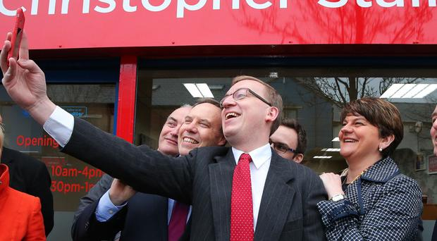 First Minister Arlene Foster pictured at the opening of the offices of Christopher Stalford MLA in Sandy Row, south Belfast. She is pictured with Nigel Dodds, Christopher Stalford, Paul Givan and Maurice Morrow.